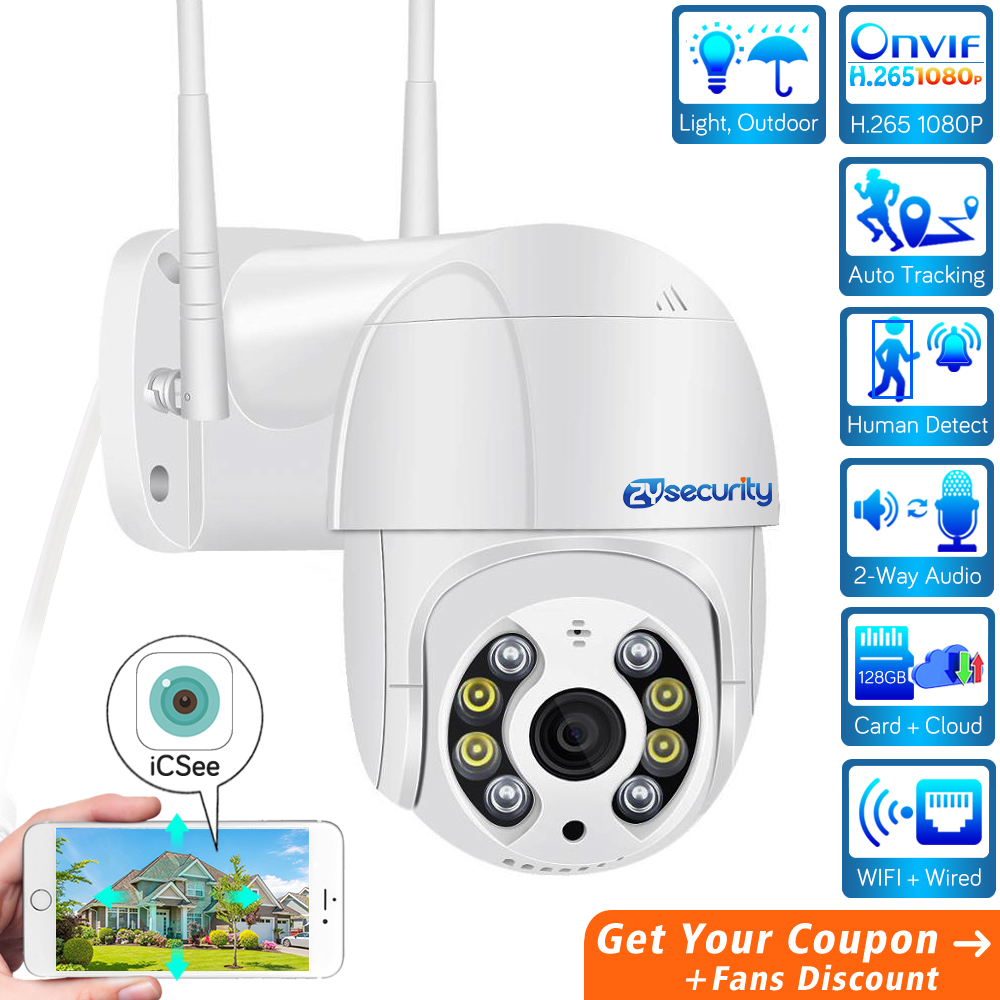 H.265 1080P WiFi PTZ Camera IP Outdoor AI Human Detect Audio SD Card Cloud Onvif Auto Tracking Wireless Speed Dome Camera CCTV
