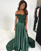Elegant Dark Green Bridesmaid Dress Off Shoulder Guest Wedding Party Dress A Line Bridesmaid Gowns robe demoiselle d honneur
