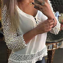 Fashion Women White Blouse Long Sleeve V neck Hollow out