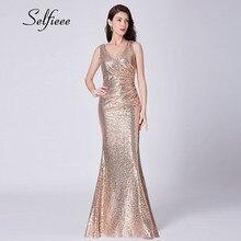 Sexy Dresses Woman Party Night New Design Elegant Little Mermaid V Neck Rose Gold Sequin Dress Long Vestidos De Fiesta