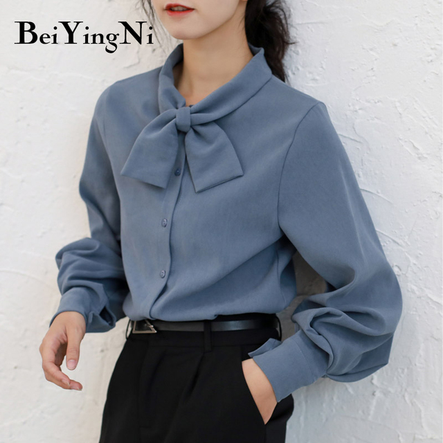 Beiyingni Fashion Casual Bow Tie Blouses Womens Tops Oversized Vintage Solid Color Shirts Female Autumn Winter Long Sleeve Blusa 6