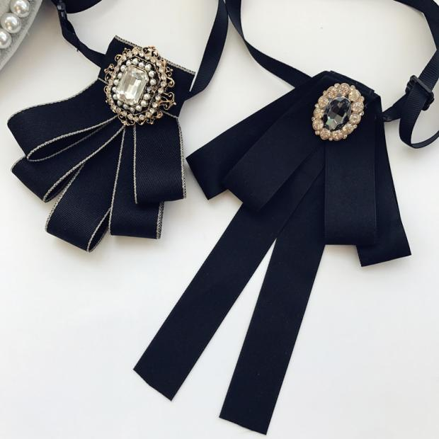 I Remiel новая ретро ткань искусство Британский Стиль Ткань шеи галстуки кристалл галстук бабочка для женщин топы и блузки рубашка воротник аксессуары