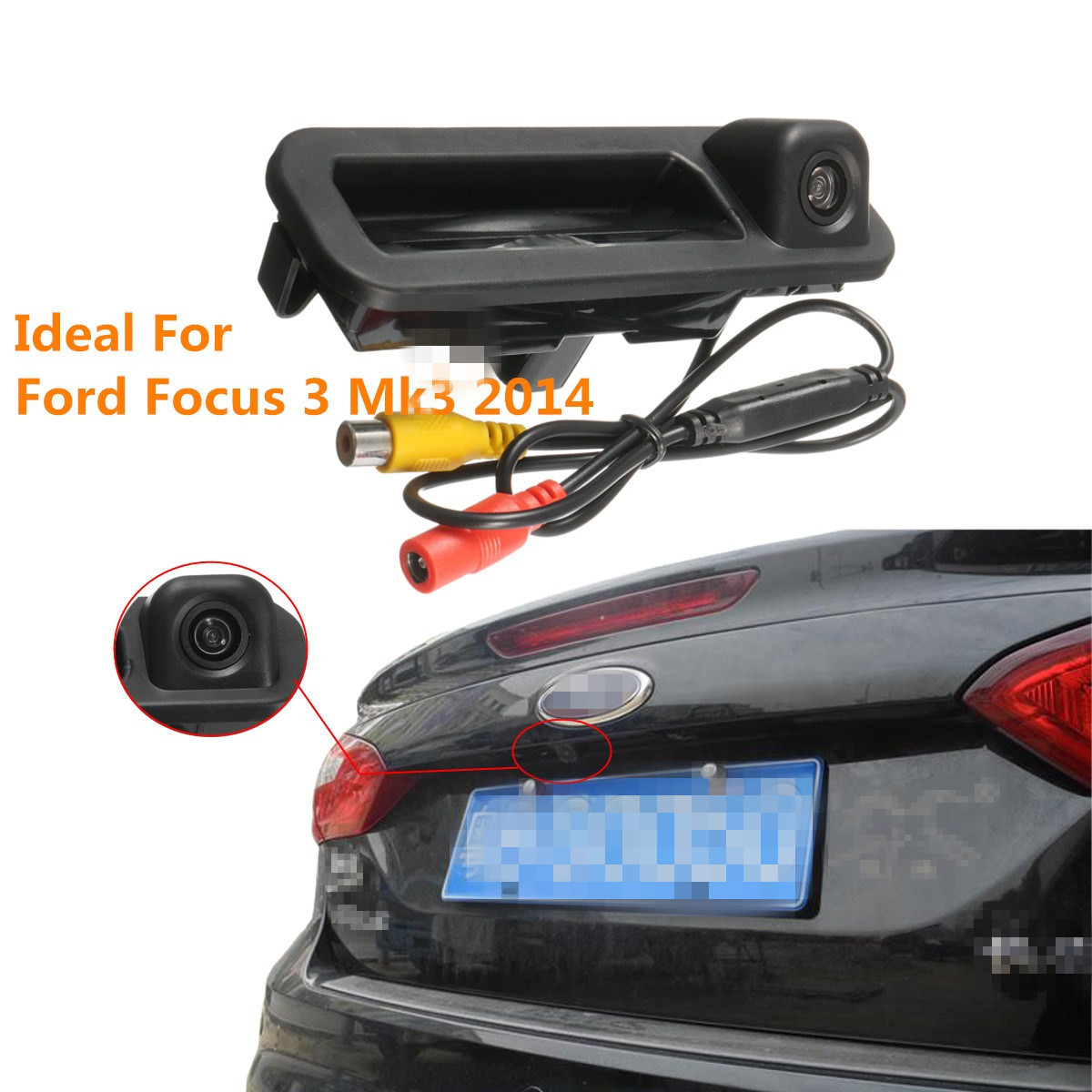 CCD HD Auto Vehicle Trunk Handle Camera Car Rear View Camera Reverse Parking Night Vision PAL for Ford Focus Focus 3 Mk3