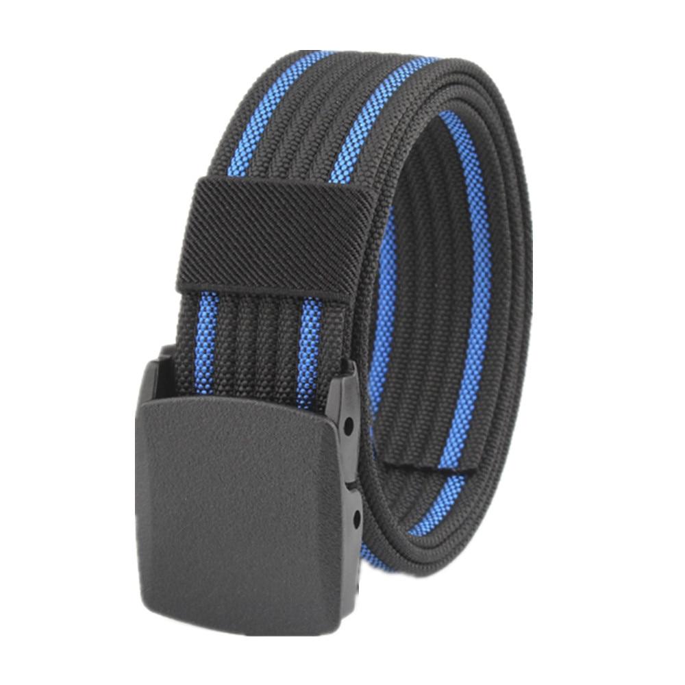 Men's Womens Plain Color Nylon canvas outdoor training Belt Plastic Buckle PD002