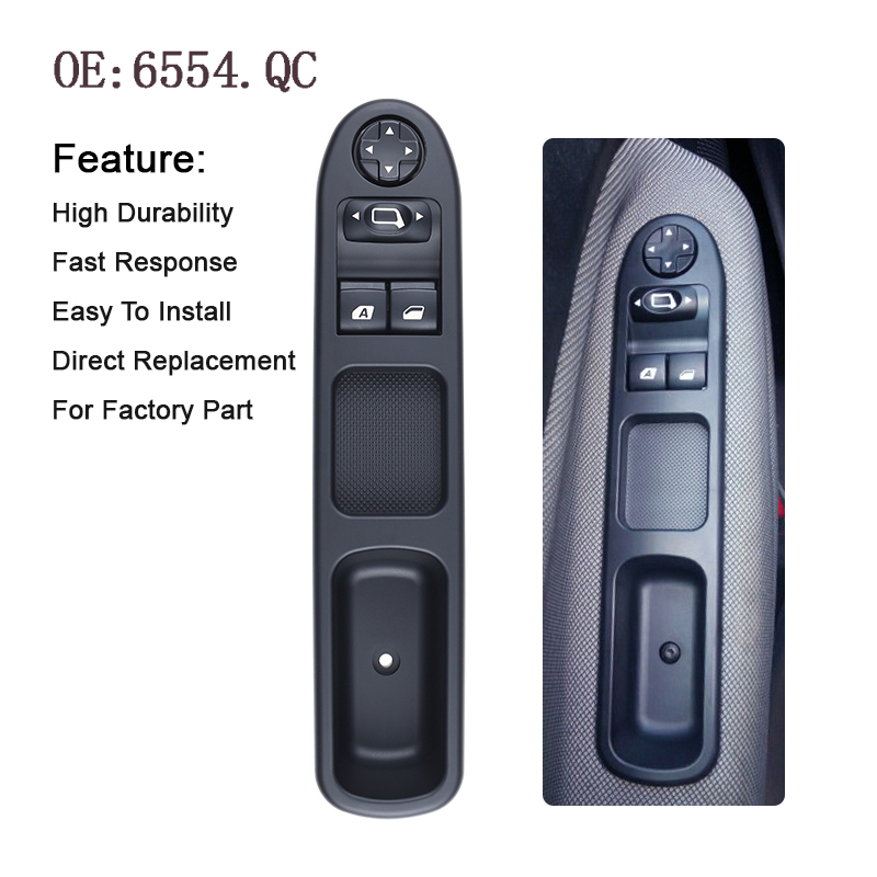 YAOPEI Power-Window-Switch 6554QC Peugeot 207 C3 Picasso Citroen for 07-14 Front-Left-Drive title=