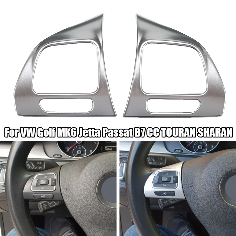 Car Steering Wheel Chrome Insert Trim Cover Interior <font><b>Stickers</b></font> For <font><b>VW</b></font> Golf MK6 Jetta Passat B7 CC EOS <font><b>TOURAN</b></font> SHARAN Accessories image