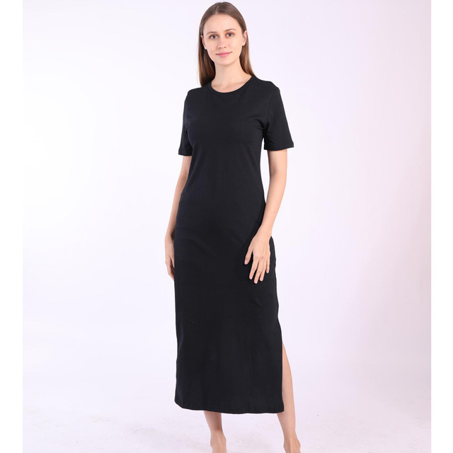 casual long dress with knee slit 3
