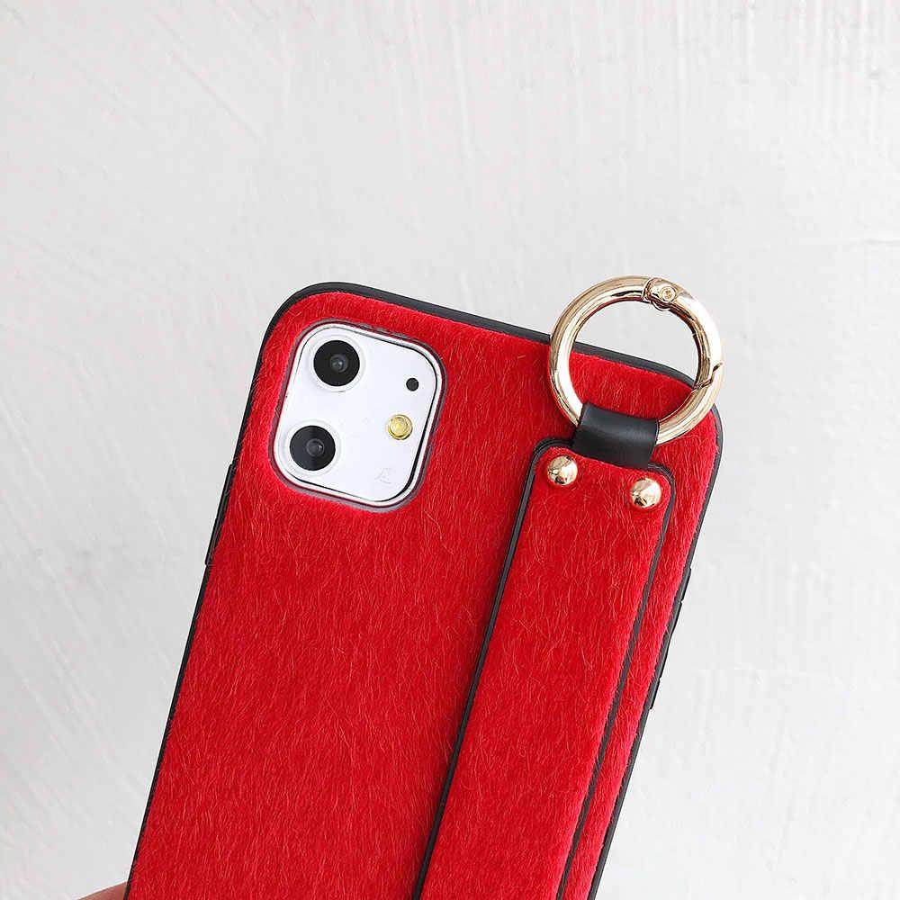สายรัดข้อมือสำหรับ iPhone XR 11 PRO MAX XS X 8 PLUS 7 6 6S Plush COVER โทรศัพท์นาฬิกาข้อมือผู้ถือสำหรับสาวผู้หญิงอุปกรณ์เสริม