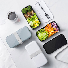 New Double Insulated Plastic Lunchbox Kitchen Flatware Food Container Bento Box Microwave Heating Lunch Dinnerware