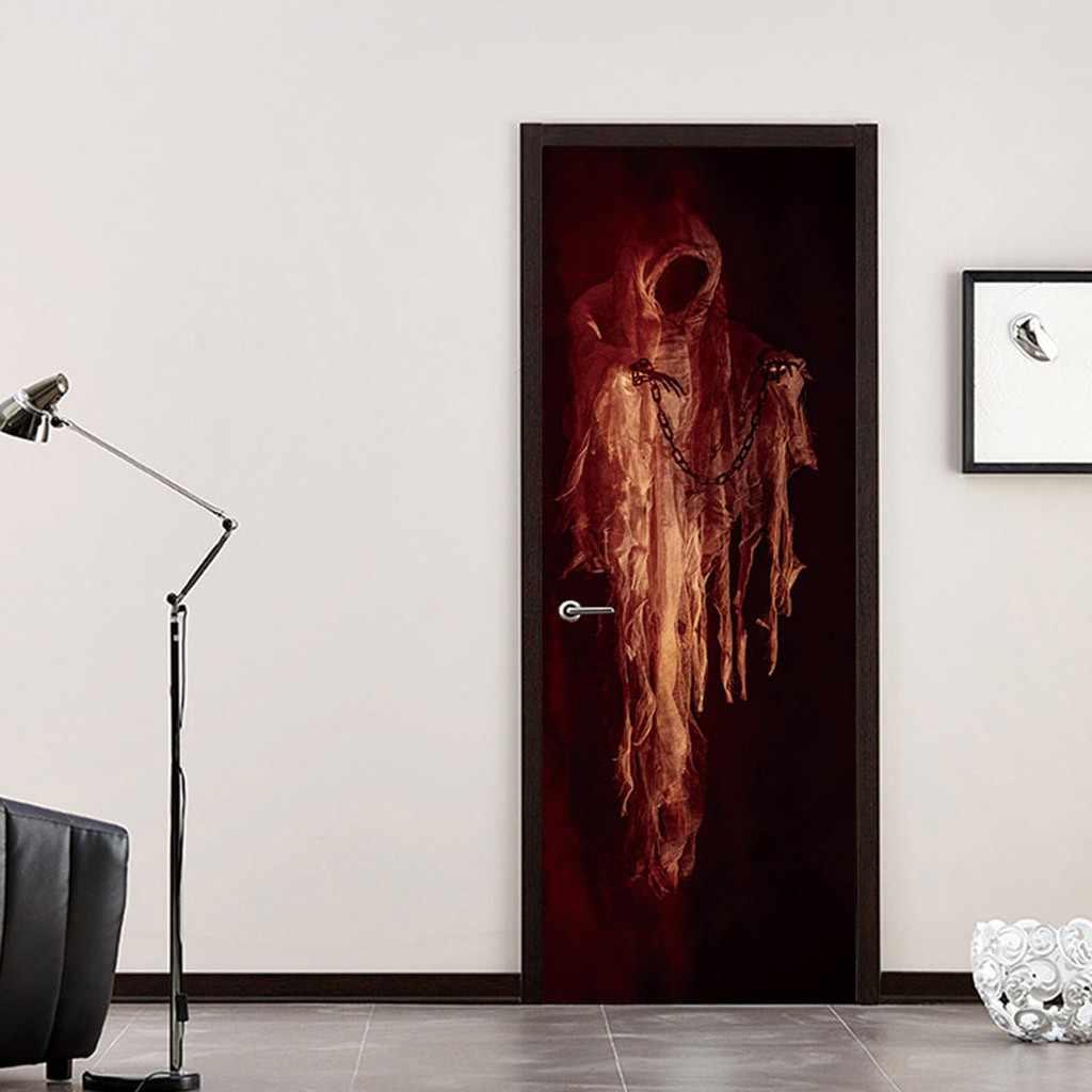 ליל כל הקדושים דלת מדבקת גולגולת זומבי Ghost דלת מדבקות עיצוב הבית 38.5x200cm x 2pc ליל כל הקדושים חדר קישוט מדבקה