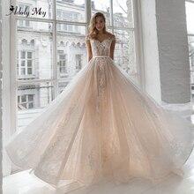 Adoly メイ優雅なキャップスリーブアップリケレース A ラインのウェディングドレス 2020 チャーミングスクープネックボタンヴィンテージブライダルドレスプラスサイズ