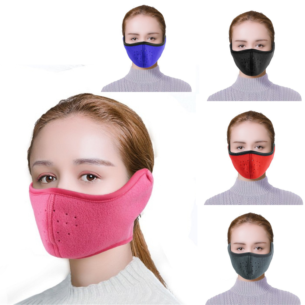 Winter Outdoor Sport Cycling Windproof Breathable 2 In 1 Face Mask Ear Earmuffs Anti-dust Reusable Respirator Face Mouth Mask
