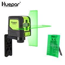 Huepar 2 linhas de nível do laser auto nivelamento (4 graus) verde vermelho feixe laser horizontal & vertical cruz-line com base magnética