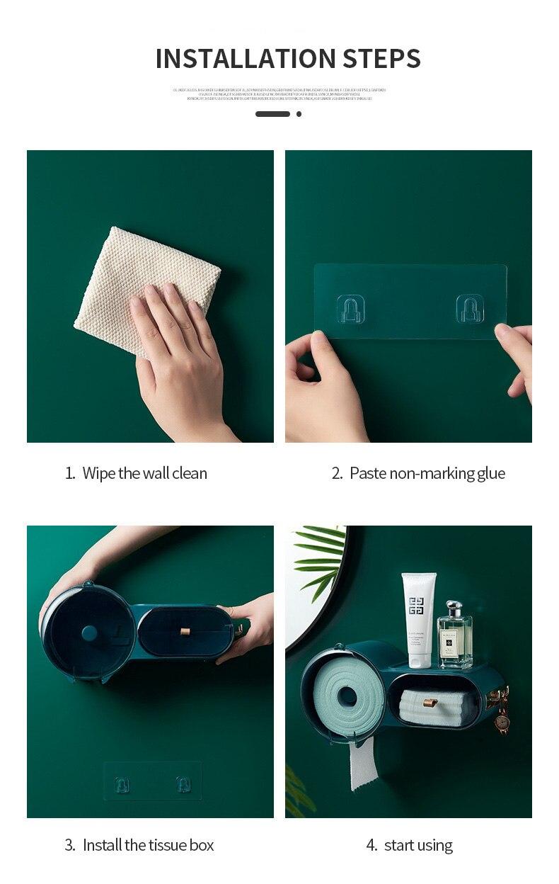 Punchfree selfesparadrapo impermeável wallmounted caixa de tecido