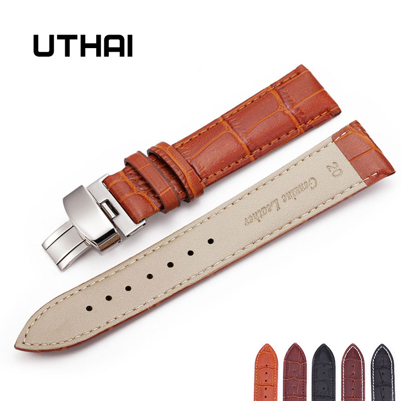 UTHAI B06 Watch Black Watchbands Leather Strap Watch Band 18mm 20mm 22mm Foldable Clasp Wristband Watch Accessories Wristbands