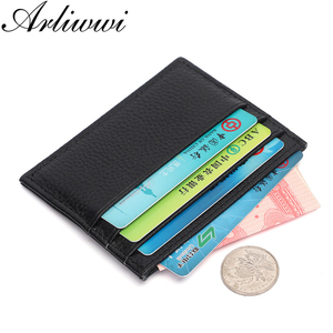 Arliwwi Candy Color 100% Genuine Cow Leather ID Card Holder Bank Credit Card Multi Slot Slim Card Case GH01