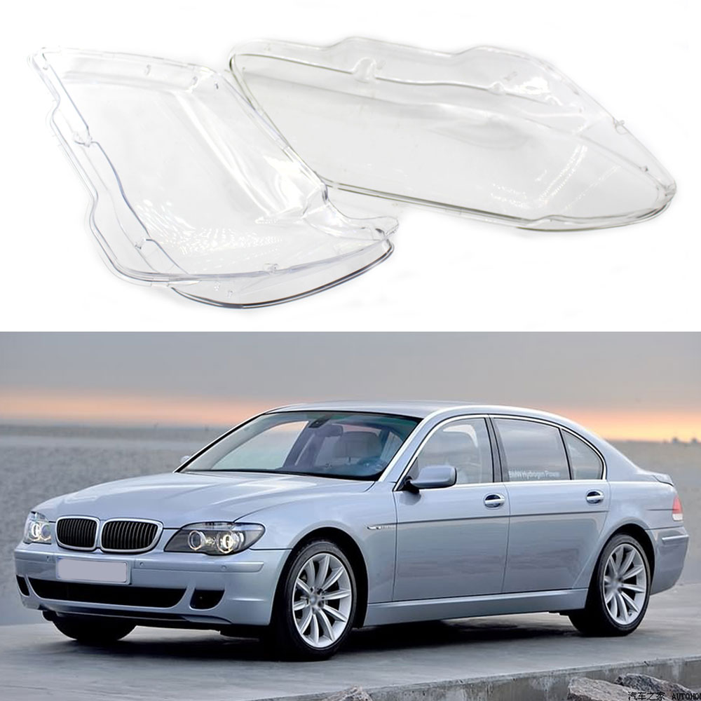 Left & Right Headlamps Transparent Lampshades Lamp Shell Car Headlights Cover Lens Glass For BMW 7 Series E65 E66 2005-2008