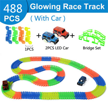 YOOAP Luminous Rail Car Toy Children DIY Assembled Building Blocks LED Racing Flexible Track Toys For