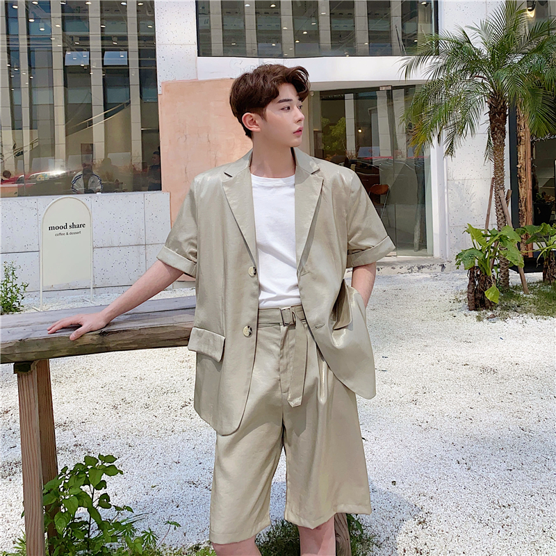 Men Summer 2 Pieces Suits Sets Shiny Short Sleeve Jacket Shorts Male Casual Retro Fashion Thin Suit Blazers Jacket