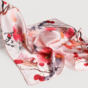 Image 5 - 65*65cm Square Scarf Silk Neckerchief 100% Hangzhou Silk Kerchief Wraps for Ladies Printed Bandana Real Silk Square Neck Scarf