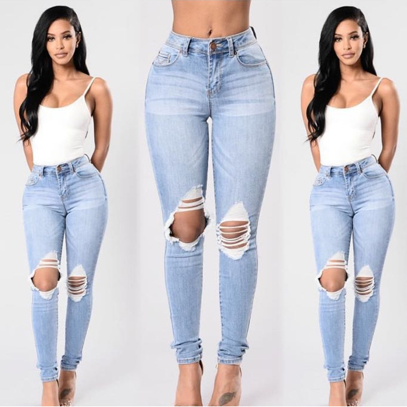 Photo Shoot Cat Jeans Plus-sized Women's European And American-Style With Holes Small Feet Long Pants