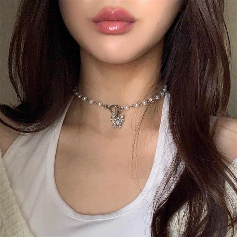 Elegant Lady Faux Pearls Shiny Rhinestone Collar Necklace Valentine/'s Day Gif