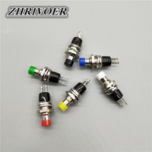 6pcs PBS-110 Mini Momentary Push Button Switch NO/NC 7mm Red Yellow Green Blue Black White 10pcs white red green blue black yellow panel mount 10mm momentary off on push button switch upper screw thread