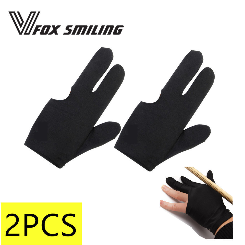 Fox Smiling 2pcs 3 Finger Billiards Snooker Gloves Pool Cue Gloves Black Blue Left Hand