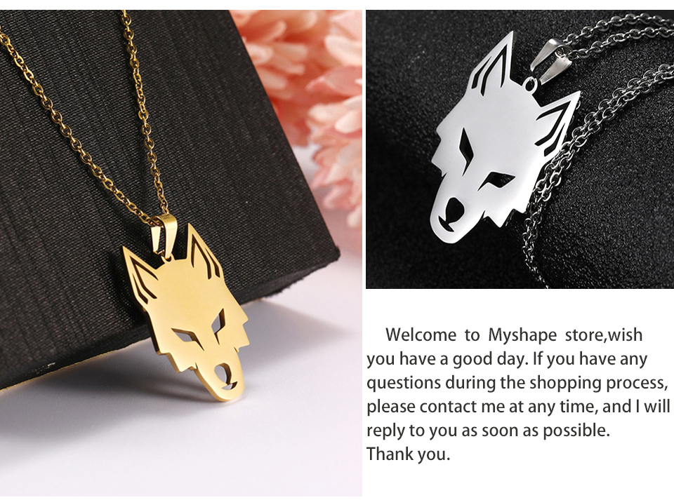 He62821ce79ed4c318d8794c17fccd0a9i - My Shape Wolf Animal Necklace 316L Stainless Steel Forest Animals Men Necklace Hollow Cut Out Pendant Jewelry Gift For Women