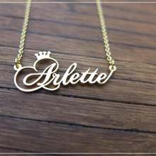 Personalized Name Crown Necklace Handmade Customized Cursive Font Nameplate Pendant Stainless Steel Chain Jewelry Birthday Gifts personalized name custom nameplate necklace and pendant cursive handwritten stainless steel jewelry 2019 handmade birthday gift