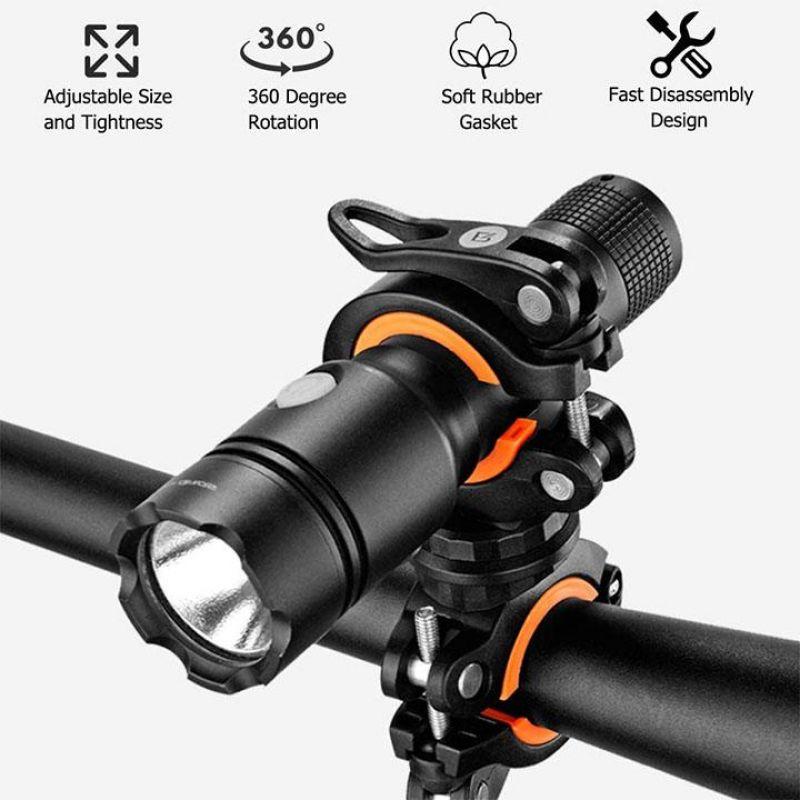 360 Degree Rotation Torch Bracket Cycling Bike Flashlight Holder Bicycle Light Torch Mounts LED Head Front Lamp Headlight Clip
