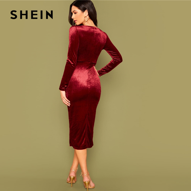 SHEIN Burgundy Surplice Neck Velvet Bodycon Dress Women Spring Long Sleeve High Waist Ladies Elegant Glamorous Long Dresses 2