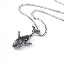 Collier pendentif en forme de baleine unisexe, chaîne classique Vintage, créative, chaîne de pull hip hop, bijoux à la mode