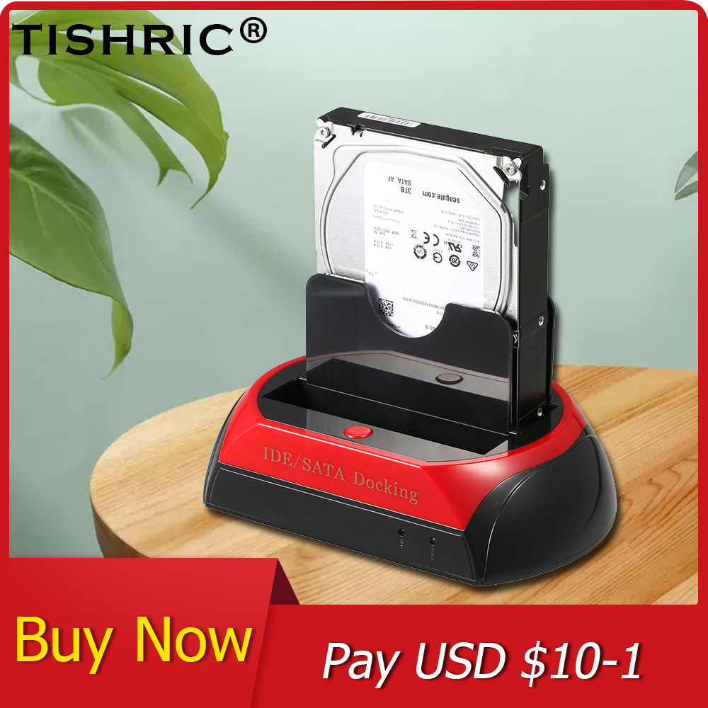 TISHRIC USB 2.0/3.0 To IDE <font><b>SATA</b></font> Dual HDD Docking Station Base <font><b>Hard</b></font> Disk <font><b>Enclosure</b></font> For 2.5/<font><b>3.5</b></font> Inch <font><b>Hard</b></font> <font><b>Drive</b></font> Docking Station image