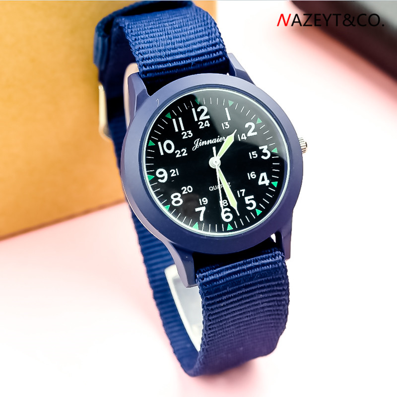 New Fashion Man Quartz Wristwatch Middle Student Luminous Hands Army Watch Children Boys Girls Blue Alloy Dial Nylon Sport Clock