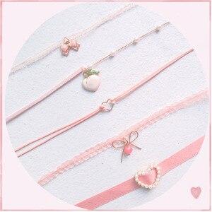 Japanse Kpop 2020 Lente Nieuwe Roze Perzik Hart Hanger Choker Korte Sleutelbeen Kettingen Mode Voor Meisje Leuke Esthetische Sieraden(China)