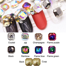Strass Nail-Art Rhinestone Glass Crystal Square Diy Decoration 100pcs for 3D 6mm Pointed-Bottom
