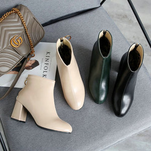 Image 5 - ZawsThia PU yuvarlak ayak yeşil blok yüksek topuklu kadın stilettos pompaları moda yarım çizmeler kadınlar için martin çizmeler kadın ayakkabı