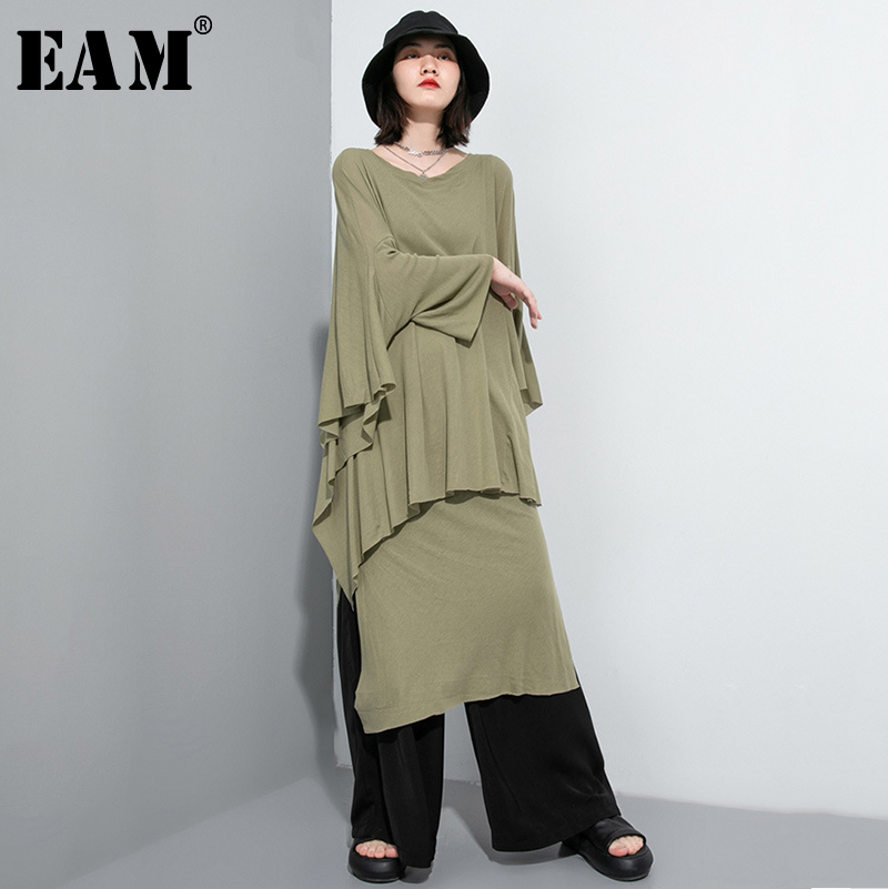 [EAM]  Asymmetrical Vent Two Pieces Suit New Round Neck Long Sleeve Black Loose Women Fashion Tide Spring Autumn 2020 1U052