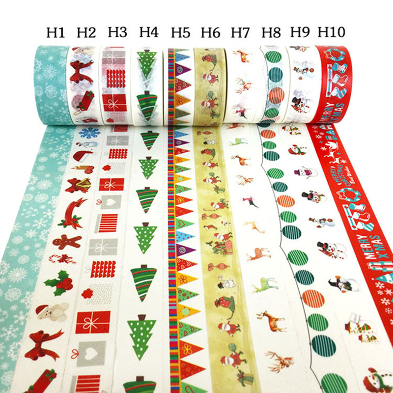 10 Rolls Cute Washi Tape Set Christmas Masking Tape For Gift Wrapping Scrapbooking Planner Japanese Paper Tape School Supply