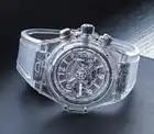 Hommes de luxe marque chronographe blanc argent plastique acier inoxydable saphir verre retour voir à travers montres lumineuses chronomètre AAA