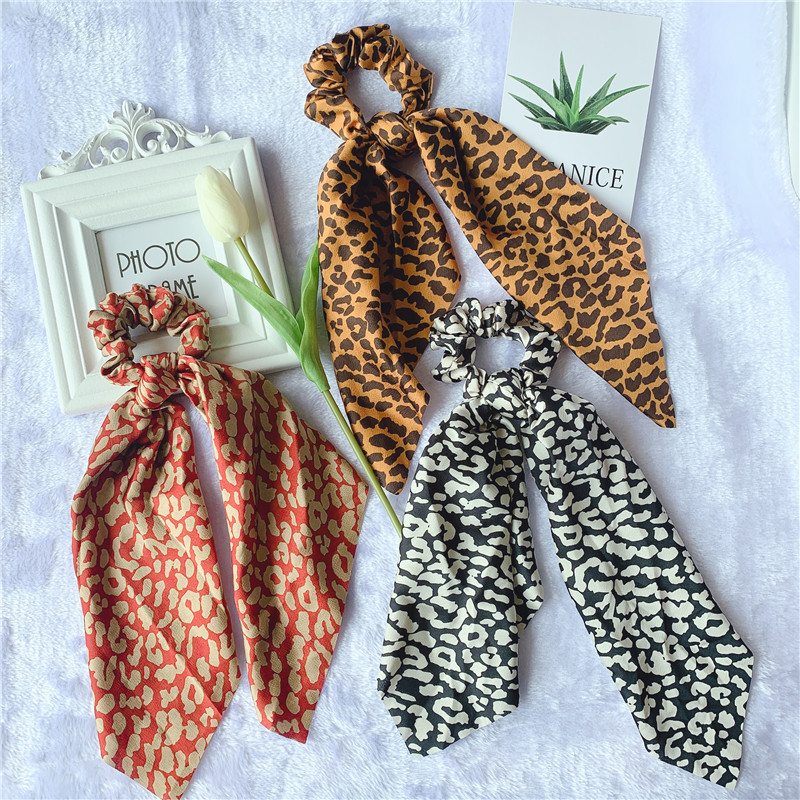 Woman Leopard Hair Ties Printed Scrunchies Ribbon Elastic Hairband Girls Ponytail Holders Charming Hair Accessories Band
