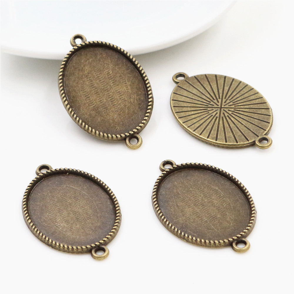 10pcs 18x25mm Inner Size Antique Bronze Classic Style  Cameo Cabochon Base Setting Charms Pendant Necklace Findings  (C3-31)