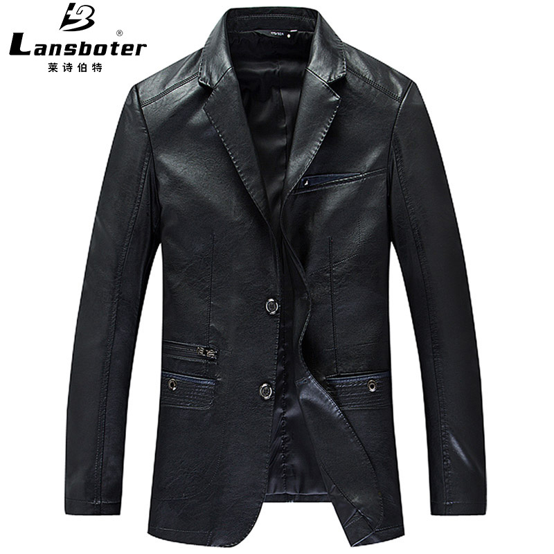 Haining New Style Genuine Leather Clothes Men's Suit Collar Sheep Skin Young And Middle-aged Suit Genuine Leather Jacket Slim Fi