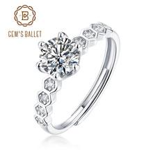 GEM'S BALLET Women's Moissanite Ring 0.5Ct 5mm VVS1 Moissanite Diamond Antique Style Rings in 925 Sterling Silver Fine Jewelry