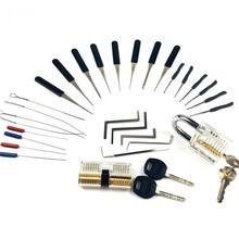New!Hot! 2PCS Transparent Lock with 14pcs Broken Key Extractor Pick Set,2pcs Tension Wrench Tool Locksmith Kit