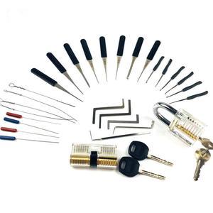 Image 1 - New!Hot! 2PCS Transparent Lock with 14pcs Broken Key Extractor Pick Set,2pcs Tension Wrench Tool Locksmith Kit