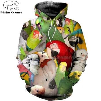 Plstar Cosmos animal New Fashion Harajuku casual 3D Printed Hoodie/Sweatshirt/Jacket Mens Womens MACAW parrot bird style-6