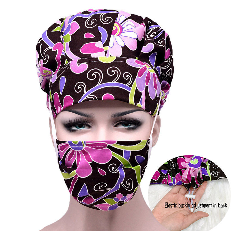 Women Hospital Cap Mask Cartoon Flower Printed Doctor Nurses Scrub Cap + Mask Surgical Surgery Work Wear Hats Mask Cotton Cover
