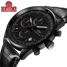 OLMECA Fashion Mens Watch Top Brand Quartz Man Clock Chronograph Wristwatches Genuine Leather Relogio Masculino